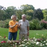 John and Lisa enjoy coffee among the flowers