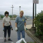 Lorraine and Merce finish cleaning up at the City Building.